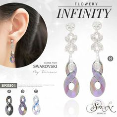 """Flowery Infinity"" #Swarovski #Crystal #elements  #flowers  #Infinity design /size 18 mm. #titanium ($45)"