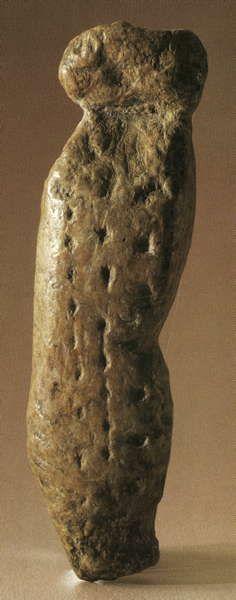Vogelherd anthropomorphic statuette - the Vogelherd Venus.   Length 69 mm, depth 10.5 mm, width 19 mm according to Müller-Beck et al. (1987).