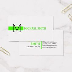 Monogram Plain White Elegant Modern Harlequin #2 Business Card - makeup artist gifts style stylish unique custom stylist