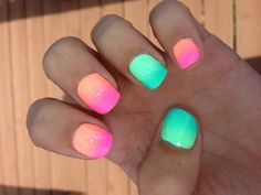 Blue light pink orange cool ombre nail designs for fall Neon Nails, Love Nails, How To Do Nails, Bright Nails, Perfect Nails, Gorgeous Nails, Pretty Nails, Ombre Nail Designs, Fall Nail Designs