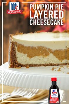 A layer of pumpkin pie filling is sandwiched between layers of vanilla cheesecake to create this ultimate holiday dessert. Pure vanilla extract and pumpkin pie…More Layered Pumpkin Cheesecake, Layer Cheesecake, Pumpkin Cheesecake Recipes, Pumpkin Recipes, Holiday Desserts, Just Desserts, Holiday Recipes, Delicious Desserts, Dessert Recipes