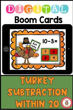 This turkey-themed deck includes 40 cards that ask a student to click on the answer to subtraction problems within 20. If you'd like to only practice within 10, you can hide the last 20 cards until your students are ready! Learning Cards, Learning Resources, Teaching Ideas, Second Grade Math, First Grade Teachers, Early Finishers, Thanksgiving Activities, Kindergarten Math, Classroom Activities