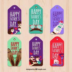 Etiquetas de colores del día del padre Vector Gratis