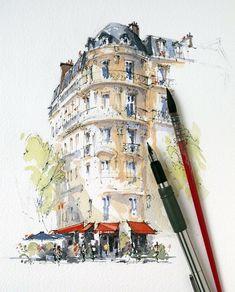 Architectural sketches 424956914835153320 - sketching the wonderful Café Français, Paris. Pen And Watercolor, Watercolor Artwork, Watercolor Landscape, Landscape Art, Watercolor Architecture, Architecture Sketchbook, Architecture Art, Urban Sketchers, Watercolor Inspiration
