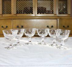 Vintage, Set of 6, Libbey/Rock Sharpe Stardust, Tall Sherbet, Champagne Glasses, Mid Century, Atomic, Crosscut