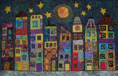 Thimble Pleasures is a quilting, sewing, and fabric shop in Chapel Hill, NC. Art Texture, 2nd Grade Art, Third Grade, Cityscape Art, Ecole Art, Collaborative Art, Art Lessons Elementary, Art Classroom, Art Club