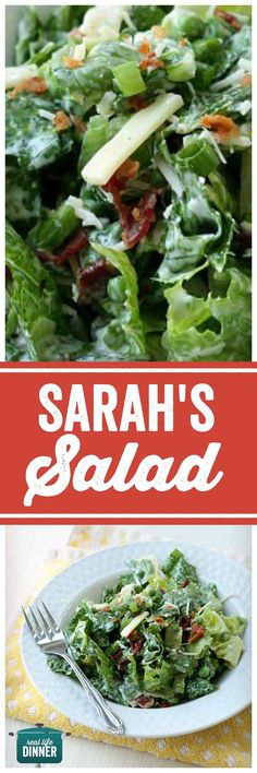 Best Salad Ever! Romaine, Peas, Bacon, Green onions, Swiss cheese and a delicious dressing. ~ http://reallifedinner.com