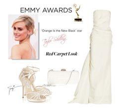"""Taylor Schilling- Dressing for the ""Emmy's"""" by italianodiva ❤ liked on Polyvore featuring mode, Judith Leiber, Giuseppe Zanotti, Jimmy Choo, Lanvin, RedCarpet, Emmys en emmyredcarpet"
