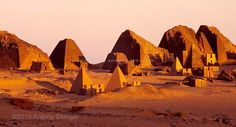 Pyramids of Meroe,Sudan,Africa.The archeological site,200km north of the
