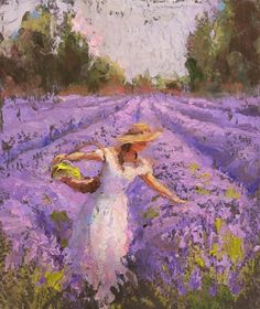 """8x10 Lavender Field and Woman Landscape Art Print - Field of Purple Flowers Décor Artwork - Floral Painting by Karen Whitworth. This colorful landscape print is made from my original oil painting """"Lady Lavender"""", featuring a woman picking lavender in a white dress in a scenic lavender field, and is sold direct from the artist. This image is printed with luminous inks that showcase the vibrant colors I use in my art. I oversee each print and sign each them one at a time, ensuring color..."""