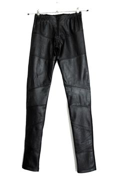 Custom made pants of recycled leather and tricot made by Finnish designer Sanna Hopiavuori. Recycled Leather, Modern Classic, Wearing Black, Custom Made, Leather Pants, Sweatpants, Black And White, My Style, How To Wear