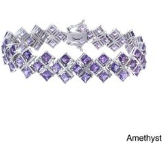 Rhodium-plated 21ct TGW Amethyst or Rhodolite Bracelet (325 BRL) ❤ liked on Polyvore featuring jewelry, bracelets, pink, polish jewelry, rhodium plated jewelry, wide bangle, pink bangles and pink jewelry