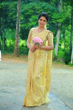 Kerala Christian Bride Christian Wedding Sarees, Christian Bride, Wedding Silk Saree, Bridal Sarees, Tamil Christian, Golden Saree, Bridesmaid Saree, Kerala Bride, Wedding Saree Collection