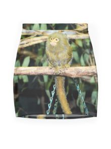 Marmoset Monkey, Sitting On A Branch. Mini Skirt