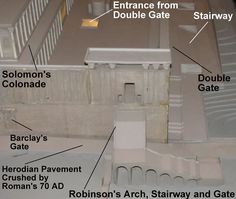 Details of a model showing the southwest corner of the Temple Mount. The staircase leading up to Robinson's Arch can be seen near the middle. The arches under the stairs were shops. These shops and others along the Western Wall directly under Robinson's Arch and gate have been located and excavated.