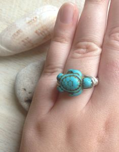 Turtle Ring, Turquoise, Beach Jewelry, Sea Turtle Ring, Made to Order Ring, Other Colors Available