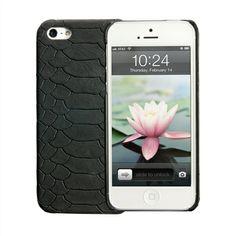 Black iPhone 5 Hard-Shell Case | Embossed Python Leather | GiGi New York