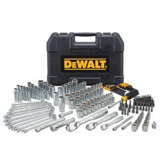 The DEWALT mechanics tool set features full polish chrome for adonit-corrosion resistance. The 72 tooth ratchet is ideal for high torque ratcheting. The vinyl grip bit driver, durable anti-slip screwdriver provides maximum comfort. Hand Tool Kit, Tool Set, Bar, Wrench Set, Tool Room, Dewalt Tools, Mechanic Tools, Hex Key, Extensions