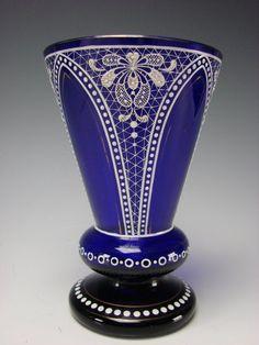 Antique Bohemian Enameled Painted Lace Cobalt Blue Glass Beaker Vase, 19th century