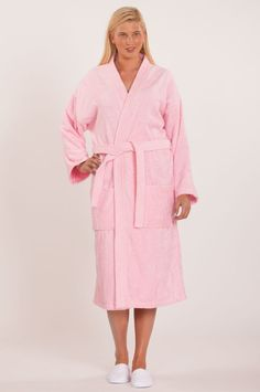 100% Turkish Cotton Adult Terry Kimono Robe - Pink - Adult - One Size ca083a651