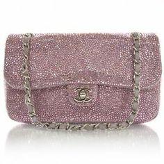 Chanel Clutch Pink Mini Flap Swarovski Crystal Strass Handbag