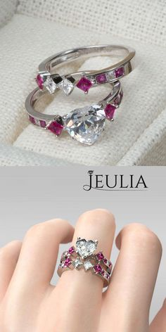 Heart Cut 2.0CT Created White Sapphire Rhodium Plated 925 Sterling Silver Women's Ring #jeulia