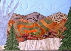 Autumn Mountains Landscape Quilted Fabric Postcard by SewUpscale, $20.00