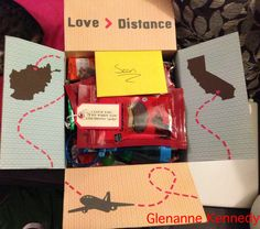 Distance means so little when someone means so much deployment care package. Missionary Packages, Deployment Care Packages, Long Distance Love, Long Distance Gifts, Craft Gifts, Diy Gifts, Military Love, Boyfriend Gifts, Cute Gifts