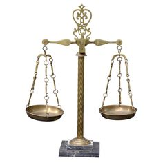 Vintage Italian Marble & Brass Apothecary Scales | From a unique collection of antique and modern apothecary jars and objects at https://www.1stdibs.com/furniture/more-furniture-collectibles/apothecary-jars-objects/