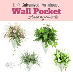 Learn how to create these beautiful DIY Galvanized Farmhouse Wall Pocket Arrangements with Julie, owner of Southern Charm Wreaths.  Julie offers this free tutorial for you so that you can make your own DIY Farmhouse Spring and Summer decor. Farmhouse Table Centerpieces, Diy Farmhouse Table, Artificial Flower Arrangements, Artificial Flowers, Silk Arrangements, How To Make Diy, How To Make Wreaths, Diy Angel Wings, Diy Angels