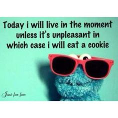 Today I will live in the moment unless it's unpleasant in which case I will eat a cookie.