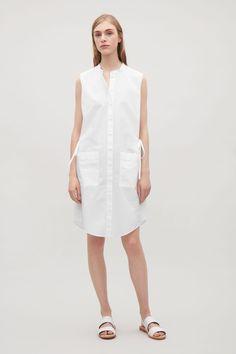 COS image 6 of Sleeveless shirt dress in Optic white