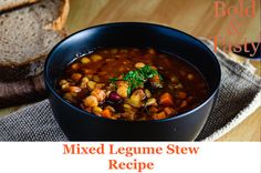 A recipe for an easy vegetarian mixed legume stew. A great source of plant-based proteins, this stew includes adzuki beans, chickpeas, lentils, and yellow split peas. #legumes #stew #maincourse #recipe #food #foodblogger #foodblog How To Soak Beans, Split Peas, Green Lentils, Vegetable Puree, Plant Based Protein, Chickpeas, Chana Masala, Stew, Food And Drink