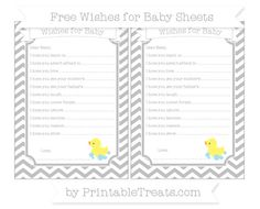 Silver Chevron  Baby Duck Wishes for Baby Sheets