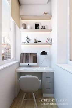 A small workspace in the balcony, a built in desk and shelves with lighting - 24 Ideas To Organize A Freelance Workspace At Home Apartment Balcony Decorating, Apartment Balconies, Cozy Apartment, Apartment Layout, Studio Apartment, Tiny Home Office, Home Office Design, Home Office Decor, Office Ideas