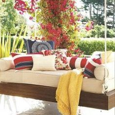 eclectic exterior daybed swing Hanging Porch Bed, Outdoor Hanging Bed, Hanging Beds, Outdoor Rooms, Outdoor Living, Porch Swings, Outdoor Daybed, Bed Swings, Outdoor Seating