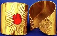 Gold Cuffs with Red Stone