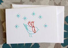 Frosty Bird stitch card