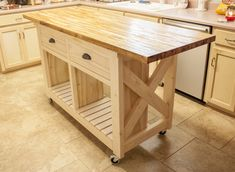 Ivory Stained Wooden Kitchen Island With Clear Coating Wooden ...