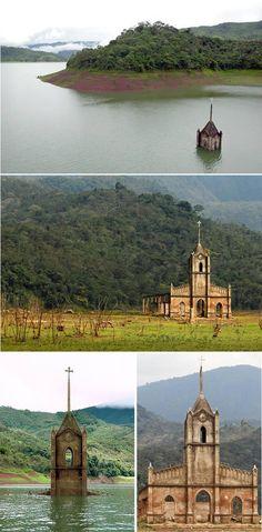 8 lugares incríveis que emergiram da água A Igreja venezuelana que ressurgiu após 33 anos submersa