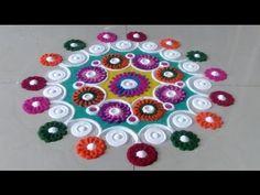Beautiful and innovative multicolored rangoli | Creative rangoli designs by Poonam Borkar - YouTube