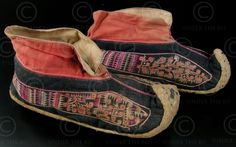 Pair of silk embroidered cotton and hemp shoes.  Lantien Yao group, Laos or Vietnam.  Mid-20th century.