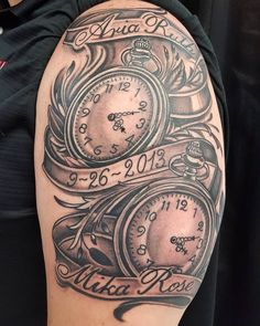 I tattooed these pocket watches for Tim today. You are for his daughters . - I tattooed these pocket watches for Tim today. You are for his daughters. Twin Tattoos, Daddy Tattoos, Father Tattoos, Baby Name Tattoos, Pocket Watch Tattoo Design, Pocket Watch Tattoos, Clock Tattoo Design, Tattoo Designs, Tattoo Ideas