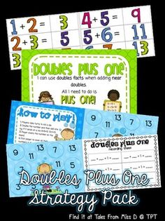 Doubles Plus One Strategy Pack In this pack you will find 2 games and a poster! * Game Players take turns to roll a die. They double th. Subtraction Strategies, Addition Strategies, Addition Activities, Number Games, Math Games, Maths, Math Doubles, Doubles Facts, Roll A Die