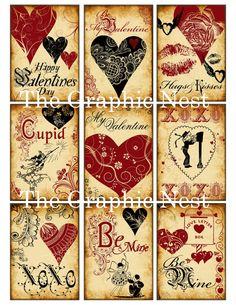 Jahrgang Valentine ATC Karten.