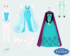 Frozen- Elsa Paperdoll by CreepyNekochan on deviantART Frozen Paper Dolls, Disney Paper Dolls, Anna Disney, Disney Frozen, Paper Toys, Paper Crafts, Witcher Wallpaper, Imprimibles Toy Story, Anna Und Elsa