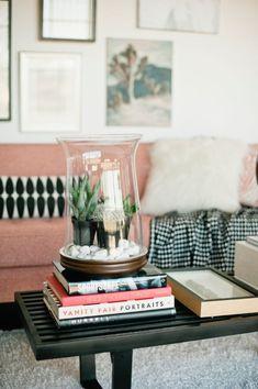 Jeremy Harwell, studio, red decor inspiration, black decor inspiration, bicycle, magazines, books, ruffles, pillows