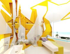 Creative Bathroom Design Concepts Innovative by Gemelli Design - Home Design and Home Interior Interior Design Yellow, Apartment Interior Design, Best Interior Design, Interior Design Inspiration, Interior Decorating, Decorating Ideas, Apartments Decorating, Interior Paint, Spa Design