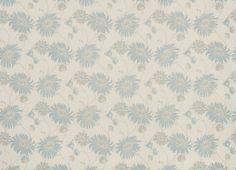 Kimono Floral Cotton/Linen Fabric Duck Egg