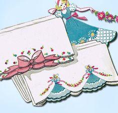 1950s Vintage Vogart Embroidery Transfer 149 Uncut Garden Girl Pillowcases ORIG